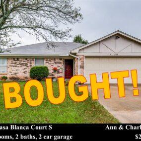 2708 Casa Blanca Court S.,  Arlington, TX  76015, BOUGHT!